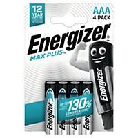 Batterier Energizer Alkaline Max Plus AAA, förp. med 4 st.