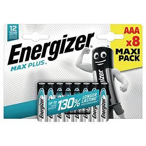 Batterier Energizer Alkaline Max Plus AAA, pakke à 8 stk.