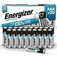 Batterier Energizer Alkaline Max Plus AAA, pakke a 20 stk.