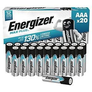 Pack de 20 piles Energizer alcaline Max Plus AAA/LR3