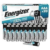 Pack de 20 pilas alcalinas Energizer Max Plus AAA/LR3