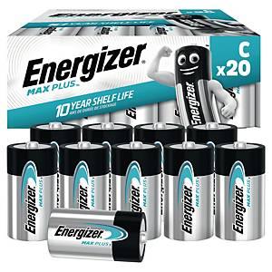 Pack de 20 piles Energizer alcaline Max Plus C/LR14