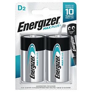 Batterier Energizer Alkaline Max Plus D, pakke a 2 stk.