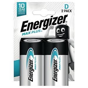 Batterier Energizer Alkaline Max Plus D, pakke à 2 stk.