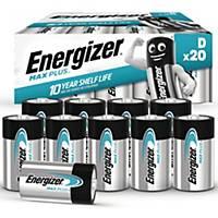 Batterier Energizer Alkaline Max Plus D, pakke a 20 stk.