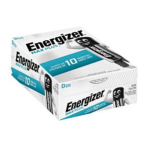 Pile alcaline Energizer Max Plus D, les 20 piles