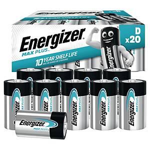 Batterier Energizer Alkaline Max Plus D, pakke à 20 stk.