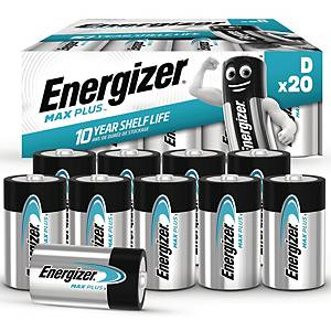 Batterier Energizer Alkaline Max Plus D, förp. med 20 st.