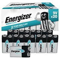 Piles Energizer Max Plus 9V, 6LR61/522/6AM6/E-Bloc, paq. 20unités