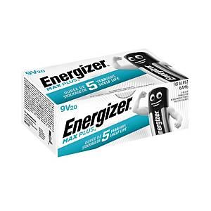 Energizer Max Plus alkaline batteries 9V - pack of 20