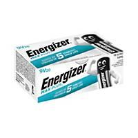 Pile alcaline Energizer Max Plus 9V, les 20 piles