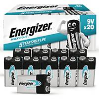 Batterier Energizer Alkaline Max Plus 9V, förp. med 20 st.