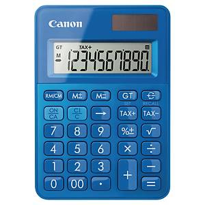 Taschenrechner Canon LS-100K, 10-stellig Solar-/Batteriebetrieb, blau