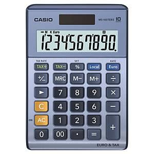Tischrechner Casio MS-100TERII, 10-stellig, Solar/Batterie, silber