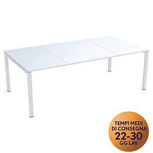 Tavolo riunione Easydesk Paperflow L 220 x P 114 x H 75 cm bianco