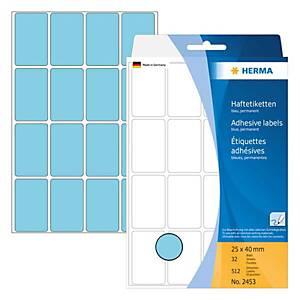 Universal-Etiketten Herma 2453, 25 x 40mm (LxB), blau, 512 Stück