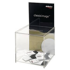 Boîte à suggestion Deflecto avec présentoir, transparent