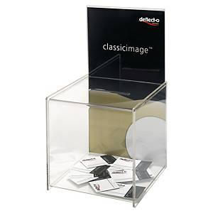 Deflecto suggestiebox met display, transparant