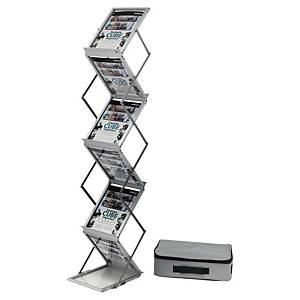 Deflecto foldable floor display 6 x A4 silver