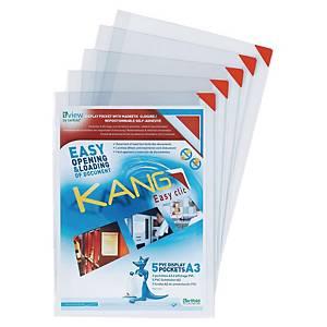 Pochette d affichage auto-ahésif Tarifold Kang, transparente, A3, le paquet de 2