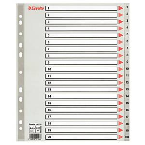 ESSELTE DIVIDERS A4 MAXI PP 1-20 GREY