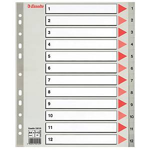 ESSELTE DIVIDERS A4 MAXI PP 1-12 GREY