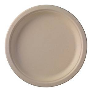 Assiette compostable Duni en canne à sucre, diamètre 26 cm, 50 assiettes