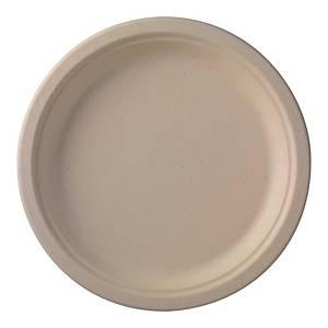 Duni composteerbaar bord van suikerriet, 26 cm diameter, pak van 50 borden