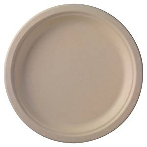 Pack de 50 platos Duni - bagazo biodegradable - Ø 260 mm - marrón