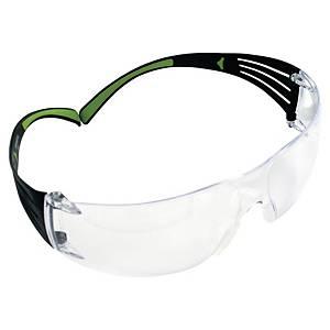 Schutzbrille 3M SF401 SecureFit, Filtertyp 2C, schwarz/grün, Scheibe farblos