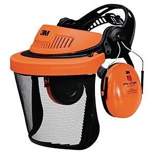 3M G500 Headgear combination orange - Mesh faceshield + Peltor Optime I earmuff