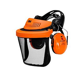 3M G500 porte-visière orange - Visière 5C-1 + Peltor Optime I casque anti-bruit