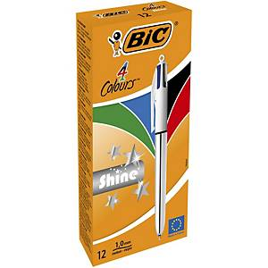 Bic Shine 4 Colour Ball Pen Silver - Pack of 12