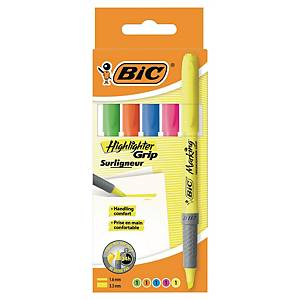 Bic Grip highlighter pen with chisel tip assorted colors - pack of 5