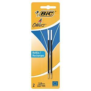 Recharge pour stylo Bic® 4 couleurs et stylo de comptoir, moyen, bleu, 2 pièces