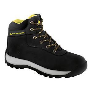 Bezpečnostná členková obuv Deltaplus Saga, S3 HRO SRC, veľkosť 43, čierna