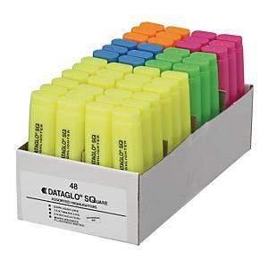 Highlighter Dataglo, skrå, assorterede farver, boks med 48 stk.