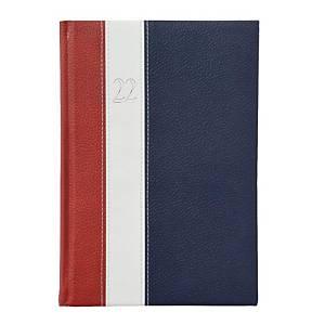 Fashion napi határidőnapló A5 - bordó/fehér/kék, 15 x 21 cm, 352 oldal
