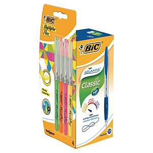 Bic Atlantis ballpoint pen blue - pack of 12 + Pack of 5 Bic Highlighter Grip