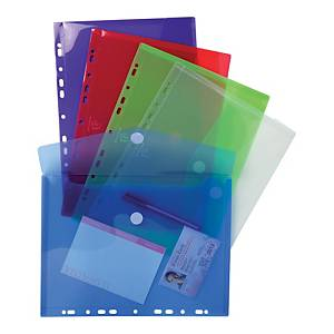 Exacompta Translucent Polypropylene A4 Punched Envelopes, Assorted, Pack 5