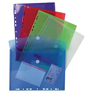 Exacompta punched envelopes A4 PP transparant assorted colours - pack of 5