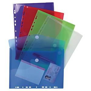 Enveloppes perforées Exacompta, A4, PP, transparentes assorties, les 5 pièces