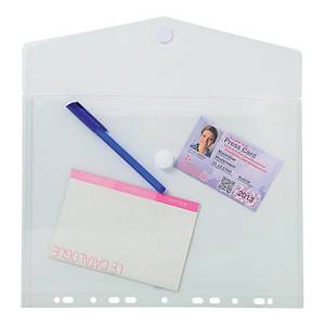 Exacompta Translucent Polypropylene A4 Punched Envelope Wallets, Clear - Pack 5