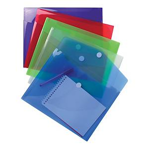 Exacompta Translucent Polypropylene A4 Envelope Wallets, Assorted - Pack 5