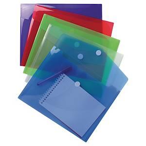 Exacompta Translucent Polypropylene A4 Envelope Wallets, Assorted - Pack 5