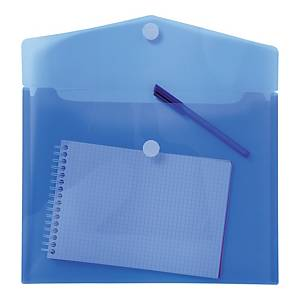 Exacompta Translucent Polypropylene A4 Envelope Wallets, Blue - Pack 5