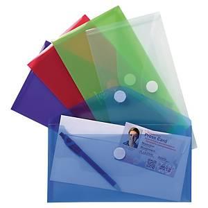 Exacompta envelope pockets transparant assorted colours - pack of 5