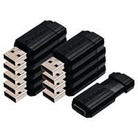 Verbatim Pinstripe 2.0 USB-stick, 8 GB, zwart, pak van 10 stuks