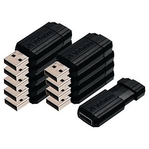 Pack de 10 memórias USB Verbatim PinStripe - USB 2.0 - 8GB - preto