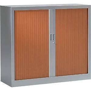 Armoire à rideaux monobloc Pierre Henry - 100 x 120 cm - alu/merisier